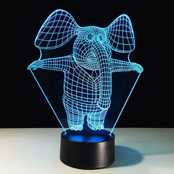 مصباح على شكل فيل باللون الأزرق