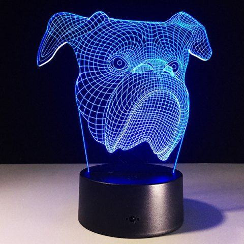 مصباح على شكل وجه كلب باللون الأزرق