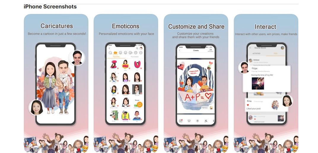 """برنامج """"MomentCam Cartoons & Stickers"""": هل أنت من عشاق الصور الكرتونيةبرنامج """"MomentCam Cartoons"""" سوف يساعدك في تحويل صورك إلى رسومات كرتونية رائعة،أستمتع مع عائلتك و أصدقائك بإلتقاط الصور و تحويلها إلى صور كرتونية مضحكة من خلال بعض الإضافة مثلاللحى والقبعات والنظارات ثم قم بتحيدد خلفية لإنشاء Momieببساطة مشاركتها مع أصدقائك عبر منصات مختلفة،يضم البرنامجقاعدة بيانات تحتوي على الآلاف من الخلفيات التي يتم تحديثها يوميا ويتم إنشاؤها في كل مناسبة."""